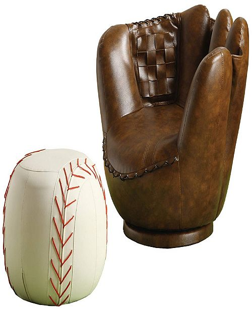 Pleasant Leather Upholstered Baseball Glove Chair And Ottoman Inzonedesignstudio Interior Chair Design Inzonedesignstudiocom