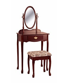 Vanity Table and Stool Set with Oval Mirror