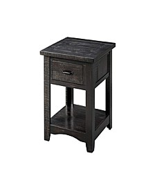 Wooden End Table with Drawer and Shelf