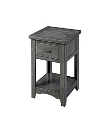Wooden End Table with 1 Drawer and 1 Shelf