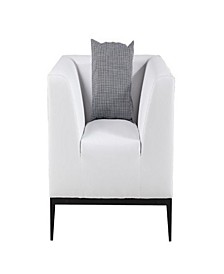 Faux Leather Upholstered Wooden Chair with Metal Tapered Legs