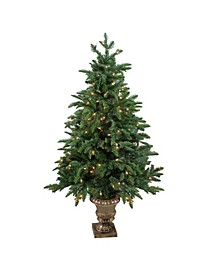 4.5' Pre-Lit Artificial Sierra Norway Spruce Potted Christmas Tree
