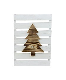 """15.75"""" Wood Tree on White Pallet Inspired Frame Christmas Wall Hanging"""