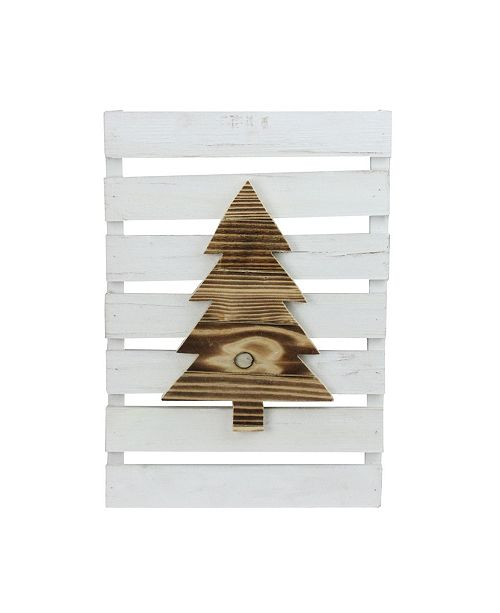 """Northlight 15.75"""" Wood Tree on White Pallet Inspired Frame Christmas Wall Hanging"""