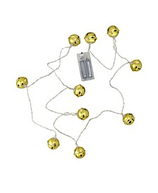 Set of 10 Battery Operated LED Gold Jingle Bell Novelty Christmas Lights - Clear Lights