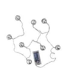 Set of 8 Battery Operated LED Silver Jingle Bell Novelty Christmas Lights - Clear Lights