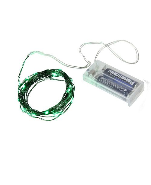 Northlight Set of 30 Battery Operated Green Christmas Fairy Lights - Green Wire