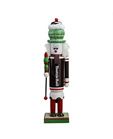 """14"""" Decorative Brown Red and White TootsieRoll Wooden Christmas Nutcracker Figure"""