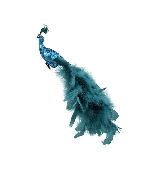 Northlight Left Facing Regal Peacock with Feather Tail Clip-on Christmas ornament