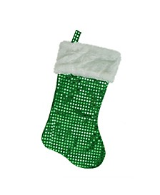 """18"""" Green and White Faux-Fur Cuffed Disco Sequined Christmas Stocking"""
