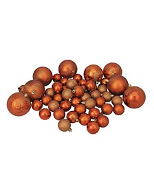 125ct Burnt Orange Shatterproof 4-Finish Christmas Ornaments