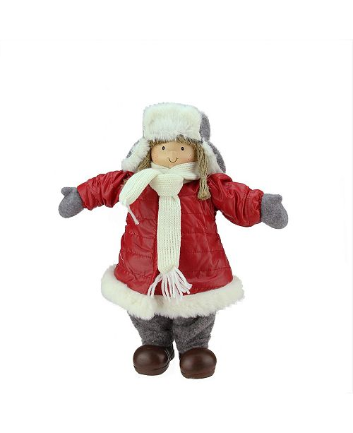"Northlight 12.25"" Cheerful Young Girl Gnome in Red Puffy Winter Coat and Gray Hat Christmas Decoration"