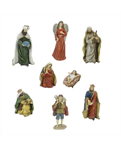 Northlight 8-Piece Jewel Tone Inspirational Religious Christmas Nativity Figure Set 12.25""
