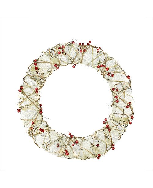 Northlight Pre-Lit Burlap and Berry Rattan Artificial Christmas Wreath - Clear Lights