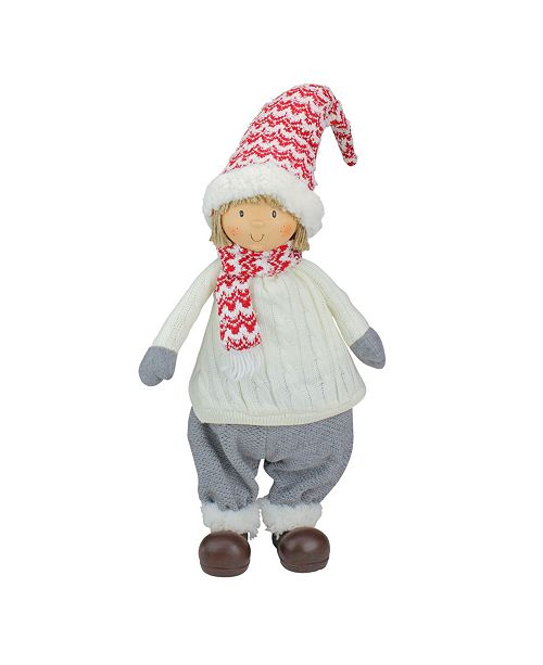 """Northlight 24.5"""" Ivory Red and Gray Cheerful Young Boy Gnome Christmas Decoration"""