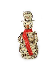 "27.5"" Lighted Burlap and Berry Rattan Standing Snowman Christmas Outdoor Decoration"
