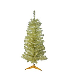 4' Gold Iridescent Tinsel Slim Artificial Christmas Tree - Unlit