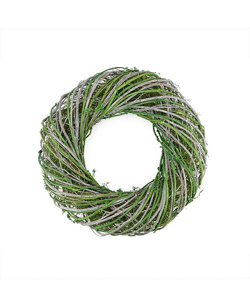 """Northlight 14"""" Green and White Twig and Moss Artificial Spring Time Wreath"""