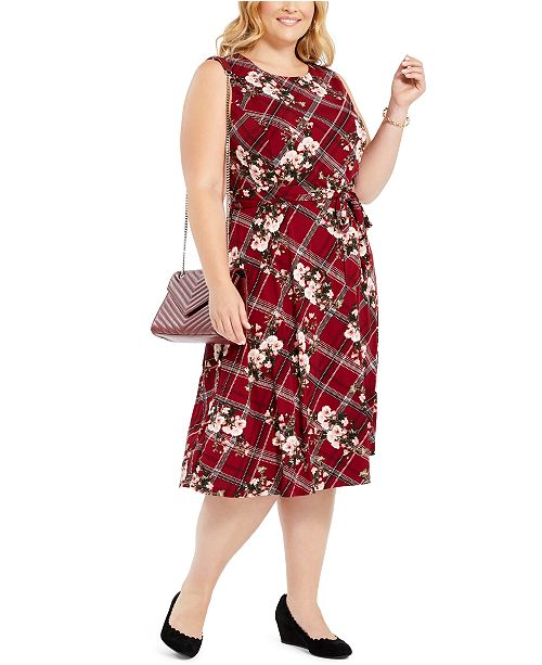 Charter Club Plus Size Printed Sleeveless Dress, Created For Macy's