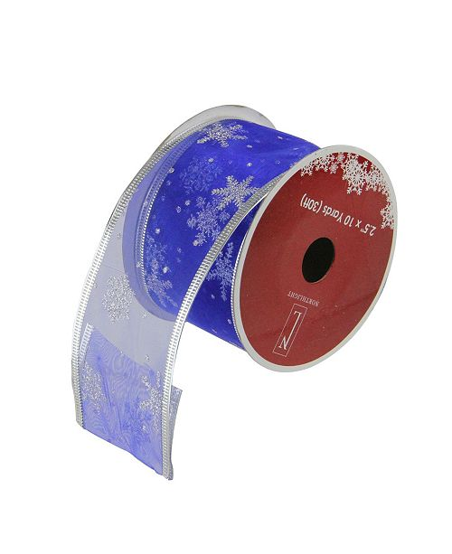 """Northlight Pack of 12 Royal Blue and Silver Glitter Snowflakes Wired Christmas Craft Ribbon Spools - 2.5"""" x 120 Yards Total"""