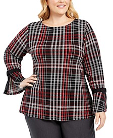 Plus Size Plaid Bell-Sleeve Top, Created For Macy's
