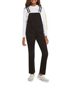 Dickies Big Girls Stretch Overall with Logo Straps