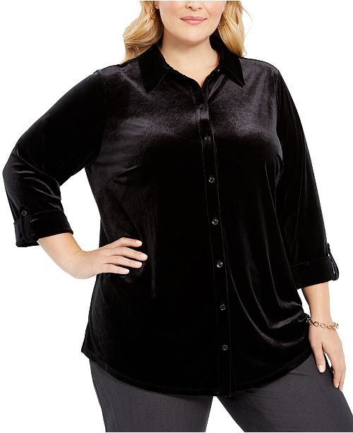 Charter Club Plus Size Button-Front Velvet Top, Created for Macy's