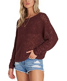 Juniors' Lace-Up Sleeve Sweater