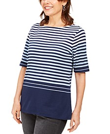 Striped Elbow-Sleeve Top, Created for Macy's