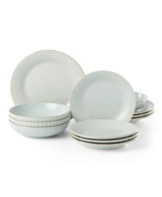 French Perle Groove Ice Blue 12-Piece Dinnerware Set, Created for Macy's