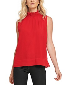 Sleeveless Faux-Leather Ruffle-Neck Top