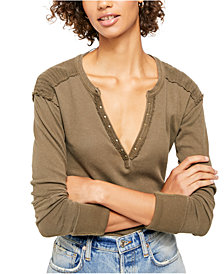 Free People Military Mix Henley Top