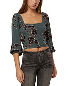 Juniors' Myra Floral-Print Crop Top