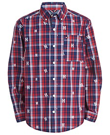 Big Boys Dixon Yarn-Dyed Plaid Logo-Print Shirt