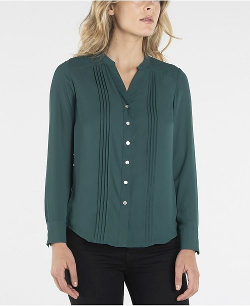 nanette Nanette Lepore Long Sleeve Stand Collar Button Down with Pleats