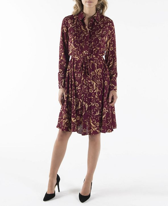 nanette Nanette Lepore Long Sleeve Pintuck Shirtdress with Belt