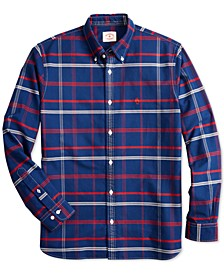 Men's Red Fleece Plaid Oxford Shirt