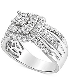 Diamond Multi-Row Halo Engagement Ring (1 ct. t.w.) in 14k White Gold
