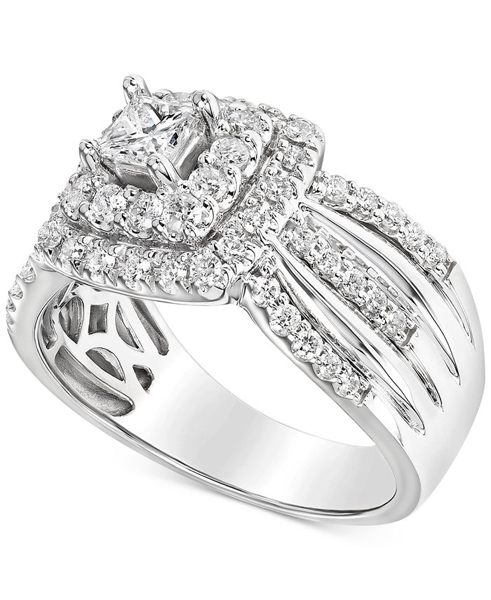 Macy's - Diamond Multi-Row Halo Engagement Ring (1 ct. t.w.) in 14k White Gold
