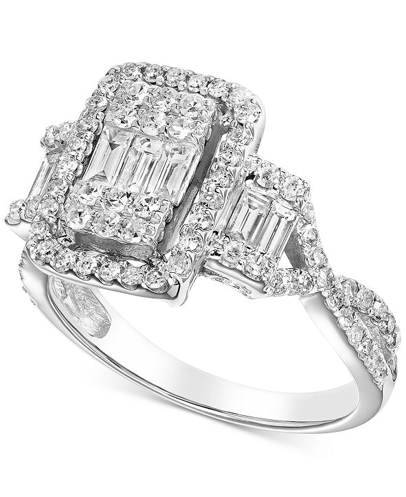 Macy's Diamond Baguette Cluster Engagement Ring (1 ct. t.w.) in 14k White Gold