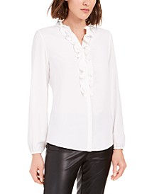 Ruffle-Front Button-Up Blouse, Created For Macy's