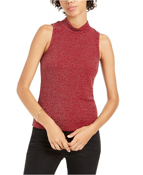 Planet Gold Juniors' Lurex Mock Neck Top
