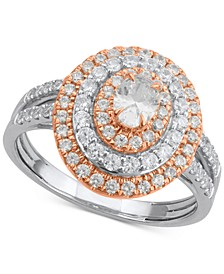 Diamond Multi-Halo Two-Tone Engagement Ring (1 ct. t.w.) in 14k White & Rose Gold