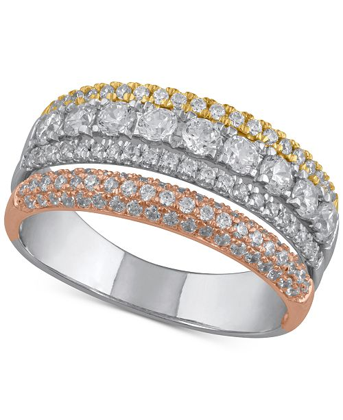 Macy's Diamond Tricolor Statement Ring (1 ct. t.w.) in 14k Gold, White Gold & Rose Gold