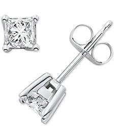 Certified Diamond Princess Stud Earrings (1/2 ct. t.w.) in 14k White Gold