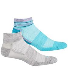 Women's Wool Striped Welt Quarter-Top 2 Pack Socks