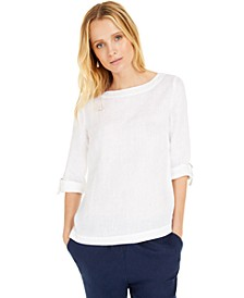 D-Ring Roll-Sleeve Linen-Blend Top, Created for Macy's