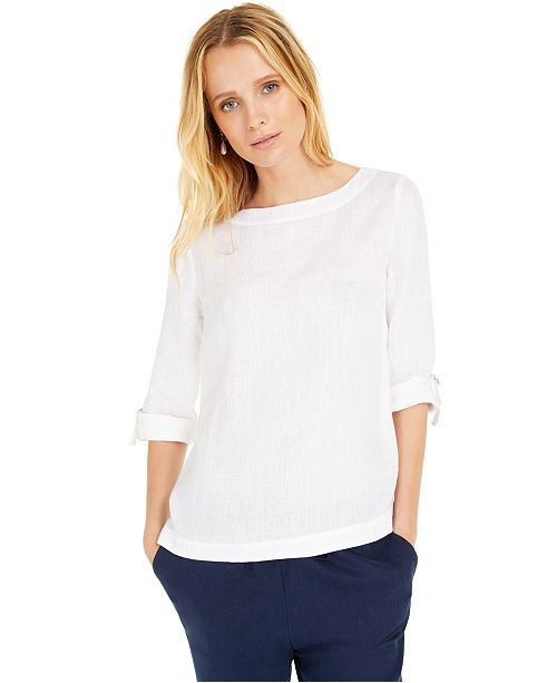 Charter Club D-Ring Roll-Sleeve Linen-Blend Top, Created for Macy's