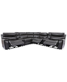 Hutchenson 7-Pc. Leather Sectional with 3 Power Recliners, Power Headrests and 2 Consoles with USB