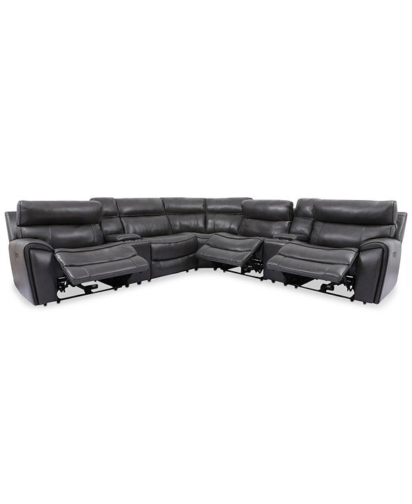 Furniture Hutchenson 7-Pc. Leather Sectional with 3 Power Recliners, Power Headrests and 2 Consoles with USB